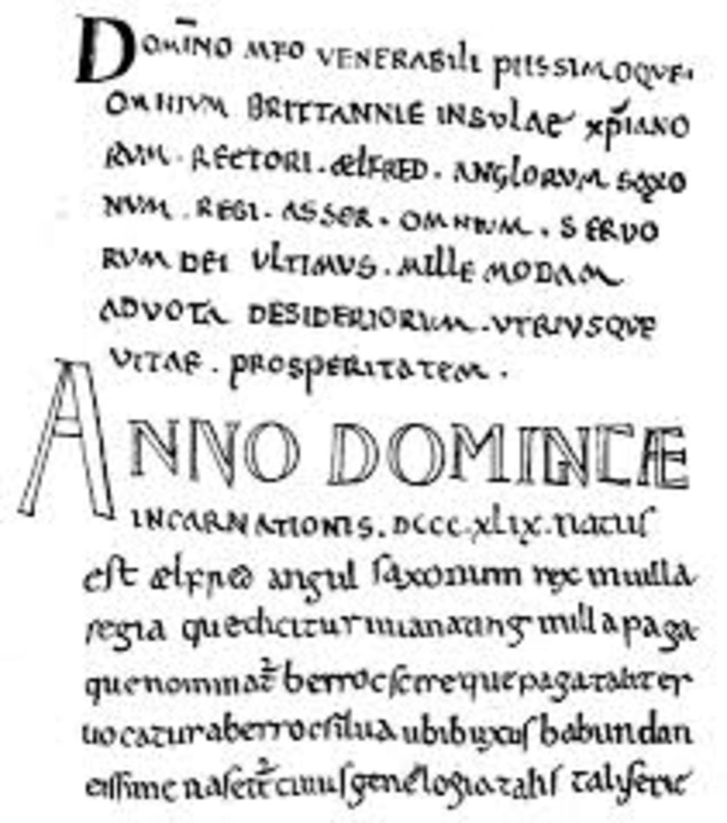 """Facsimile of the first page of Bishop Asser's  """"Life of Alfred."""""""