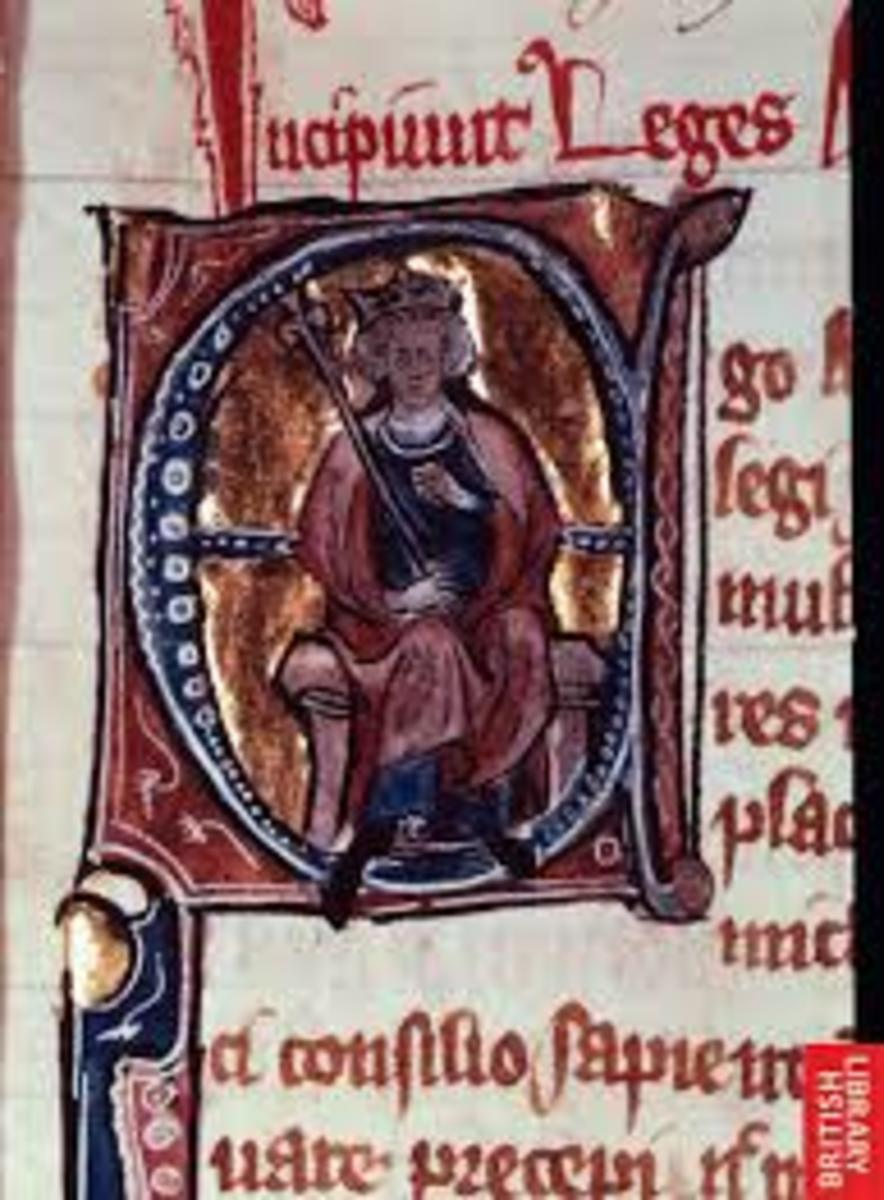 Alfred the Great pictured in the letter A of an illuminated manuscript from the Middle Ages.
