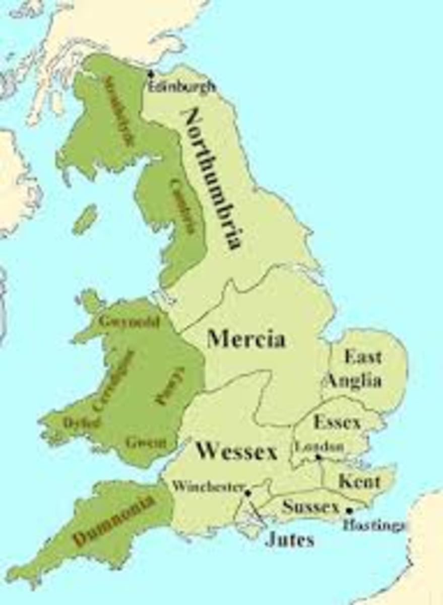 Map of Anglo-Saxon kingdoms during medieval times.
