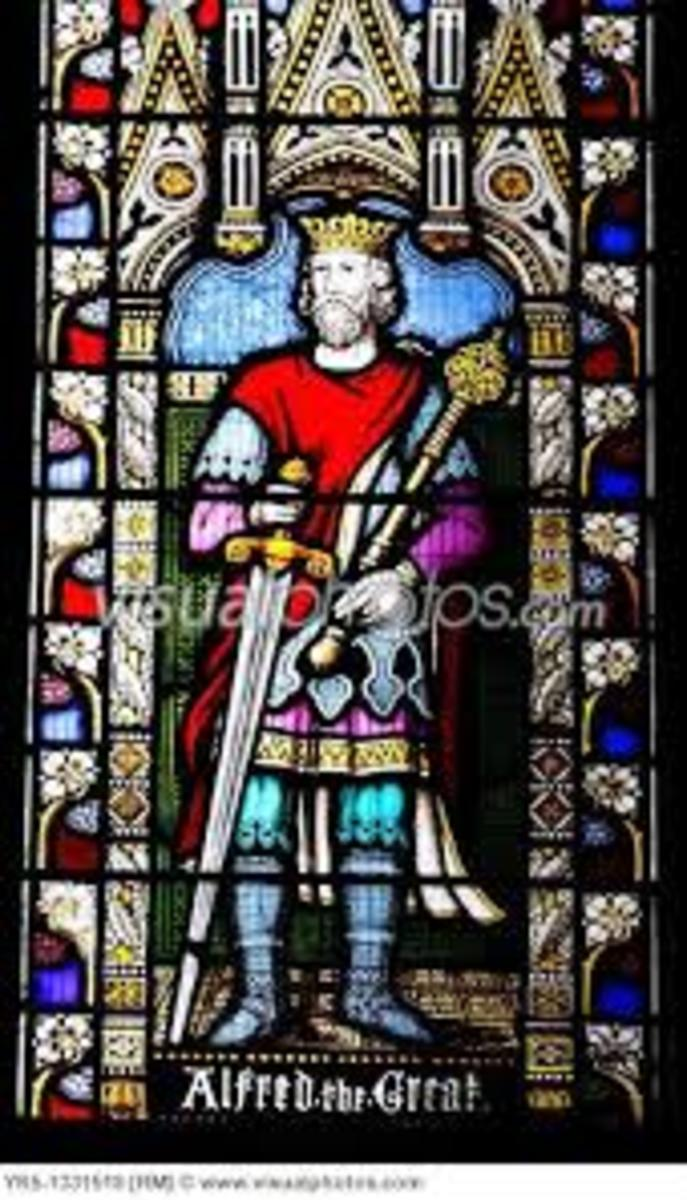 Stained glass window of a church picturing Alfred the Great in Hampshire, England