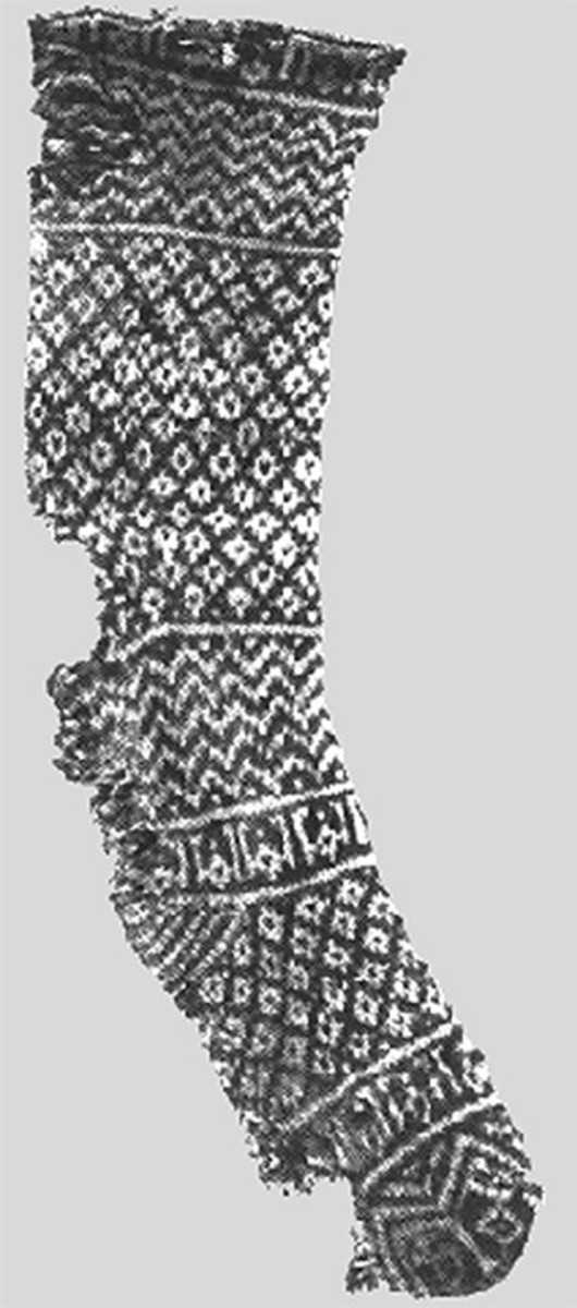 An Egyptian knitted sock found in 1800 year old tomb.