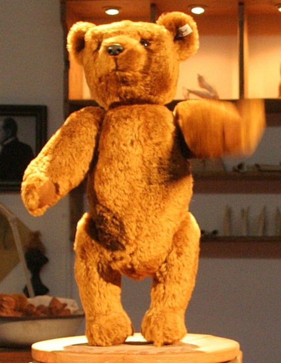 A replica of the original Steiff bear made in 1903 now displayed in the Steiff Museum.