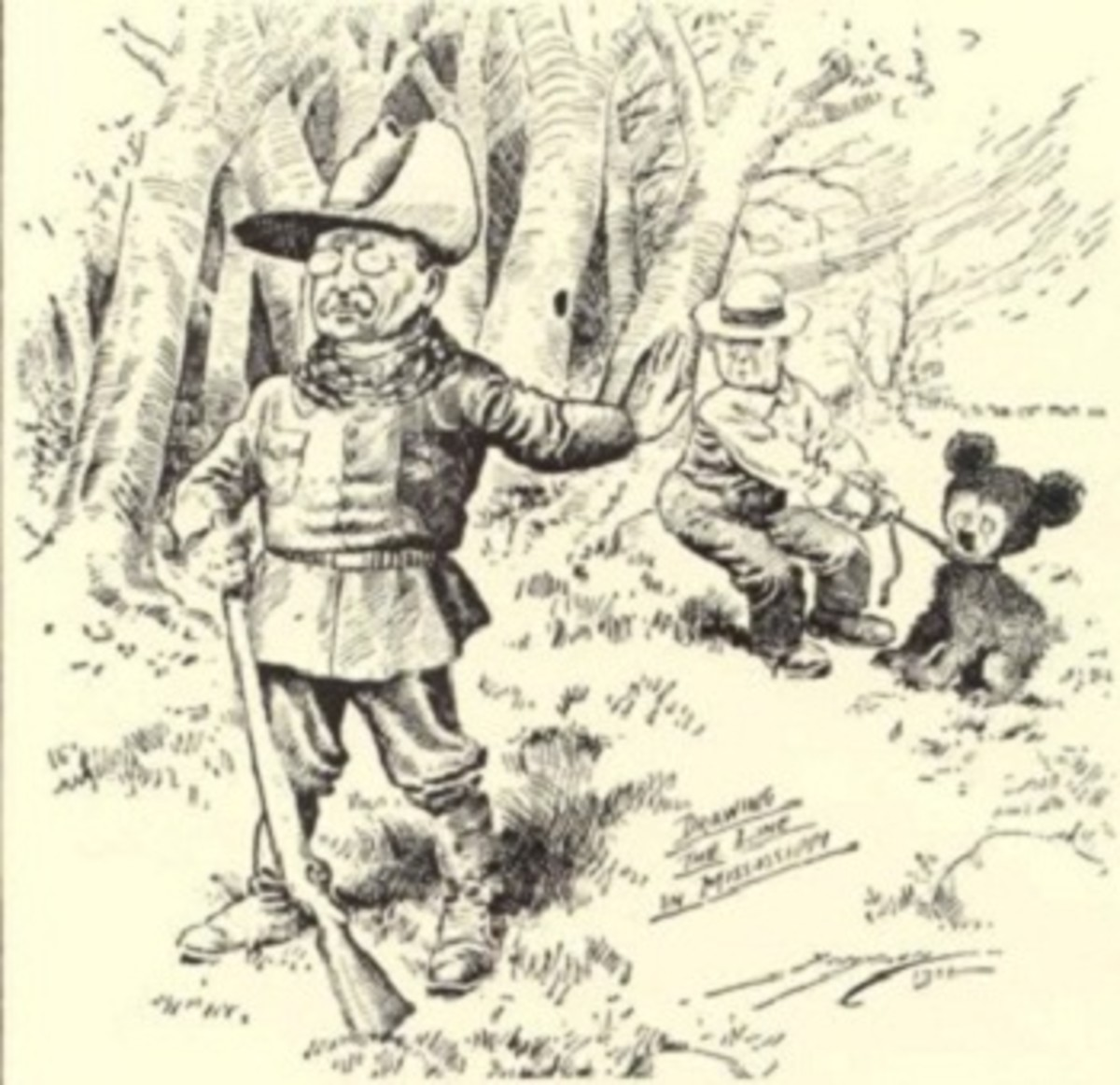 Cartoon from 1902 showing President Theodore Roosevelt and the bear. Artist: Clifford Kennedy Berryman (1869–1949)