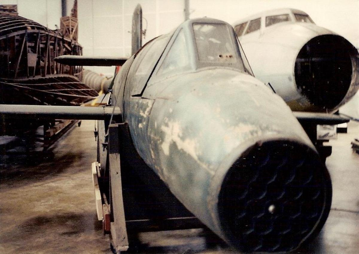 The Smithsonian's Ba-349 Natter at the Paul E. Garber facility, Silver Hill, Maryland, circa 1985.
