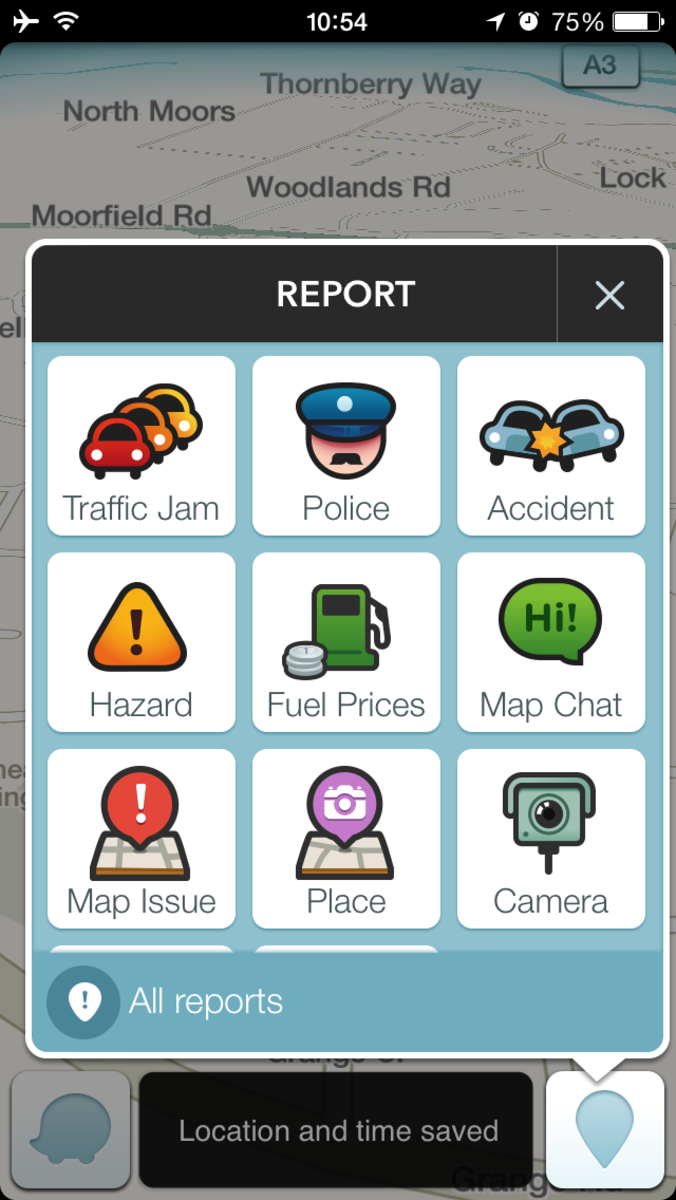 Reporting problems in Waze
