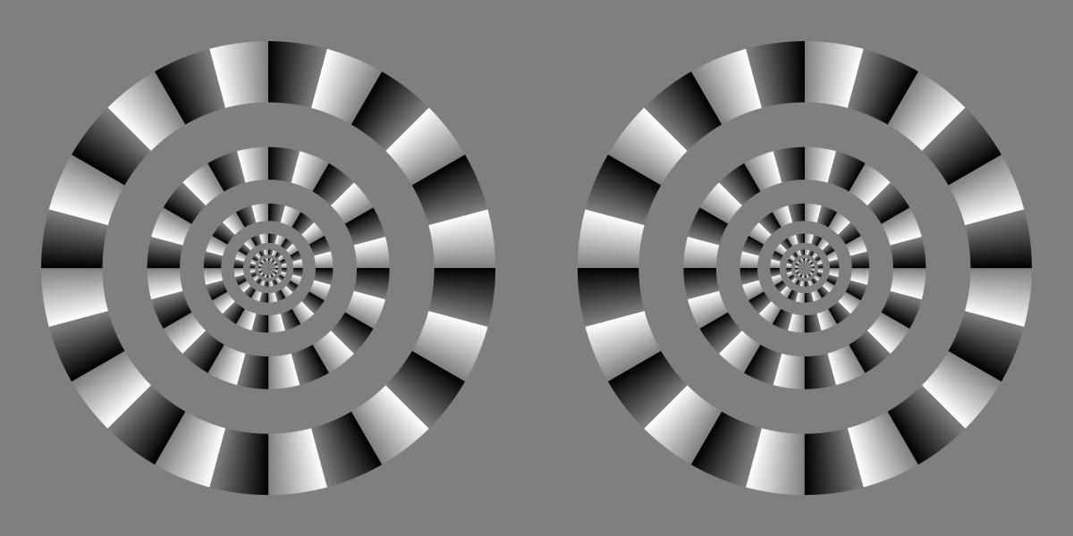 Rotating circles optical illusion using high contrast black-grey-white colour blocks