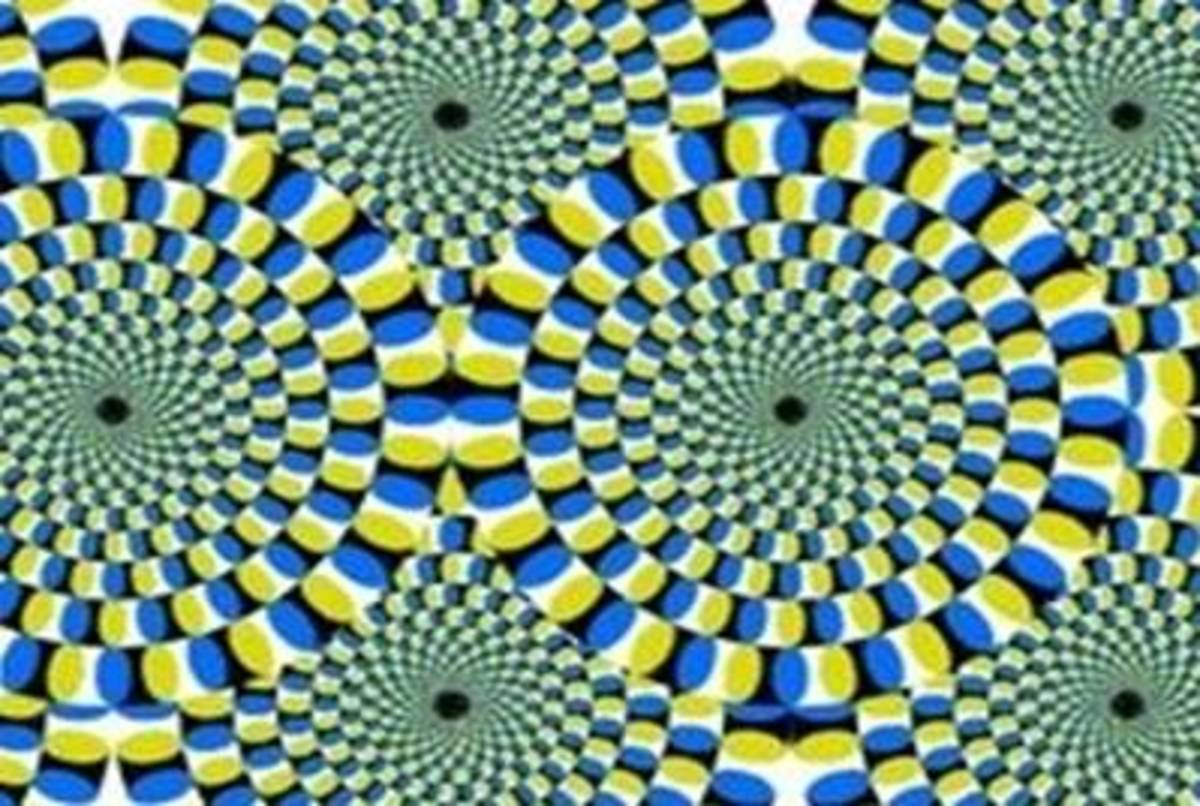 The repeated sequence of colour blocks can be seen making up each circular section within the illusion.