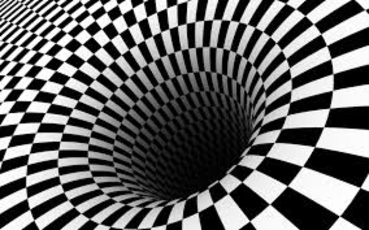 Optical visual illusion with contrasting black and white squares which appear to rotate