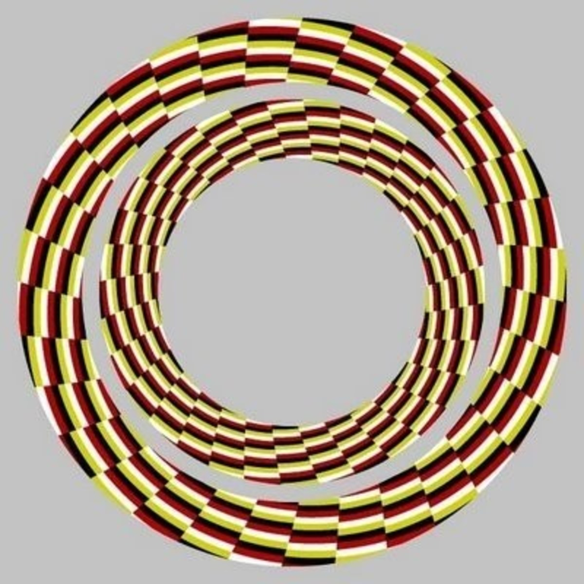 Visual illusion where the rope appears to swirl and move towards you