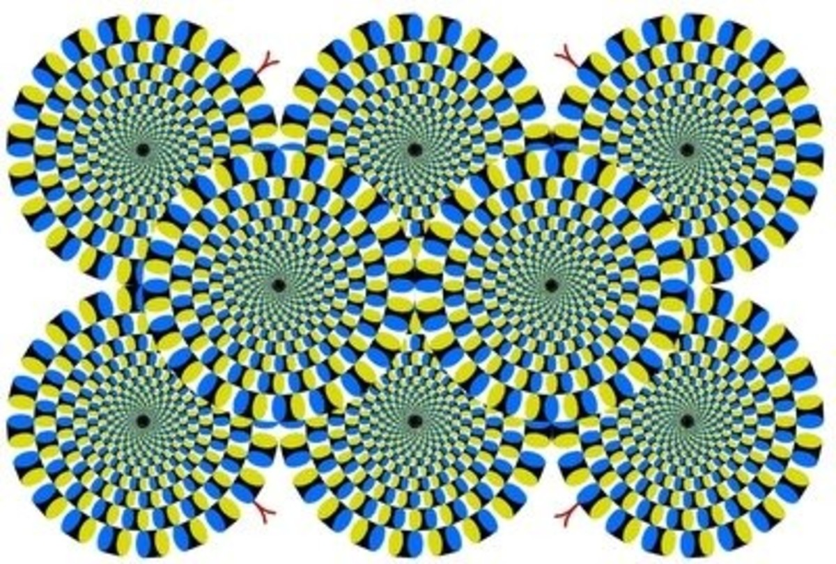 "The original ""Rotating Snakes"" optical illusion was created by Akiyoshi Kitaoka in 2003."