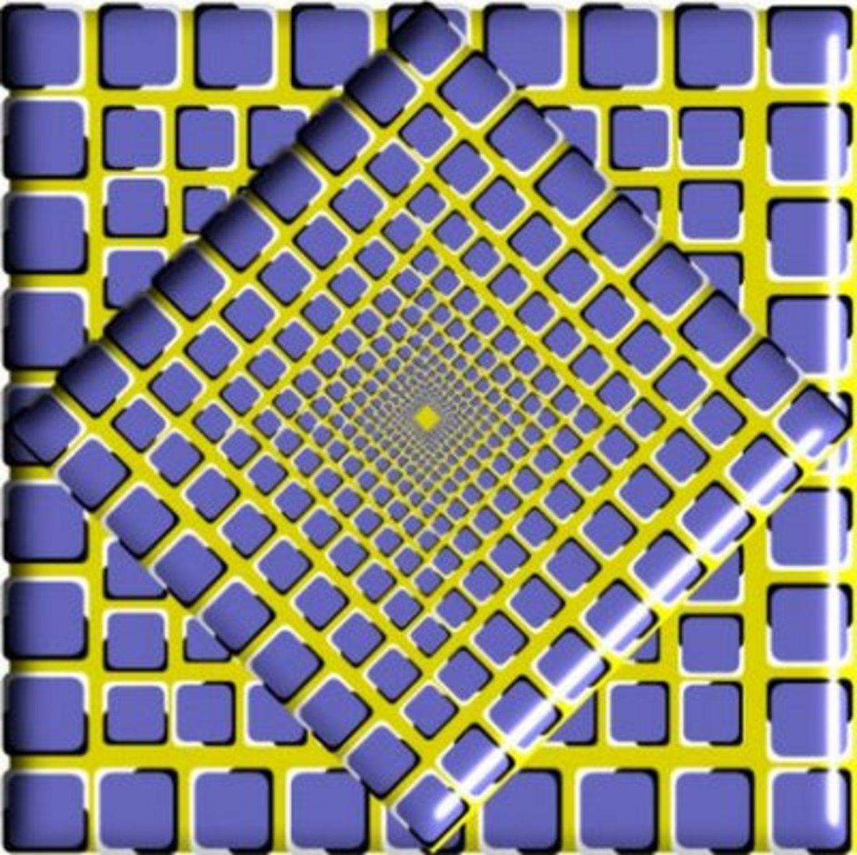 Optical visual illusion with rotating squares