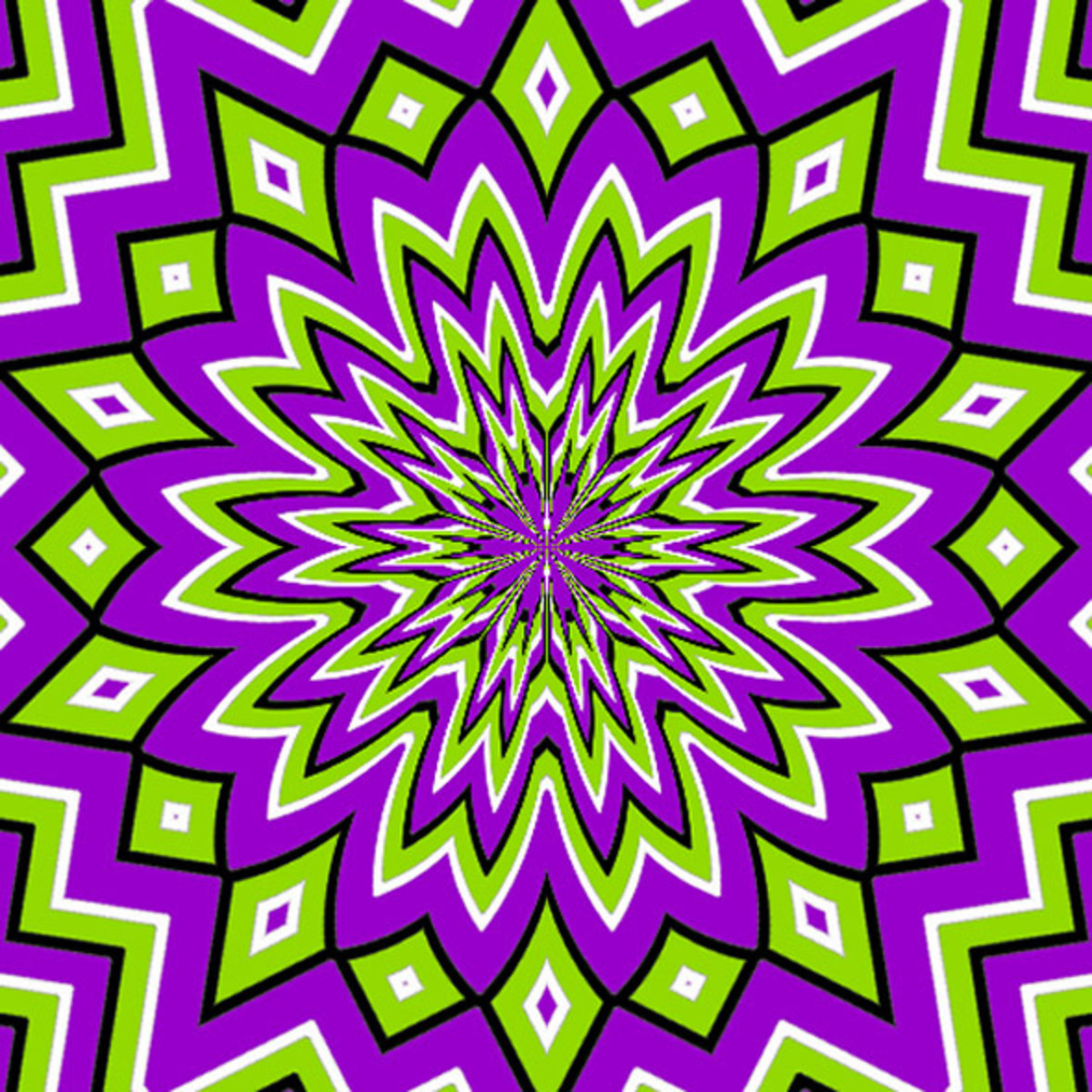 This optical illusion seems to pulsate towards the centre and back outwards again