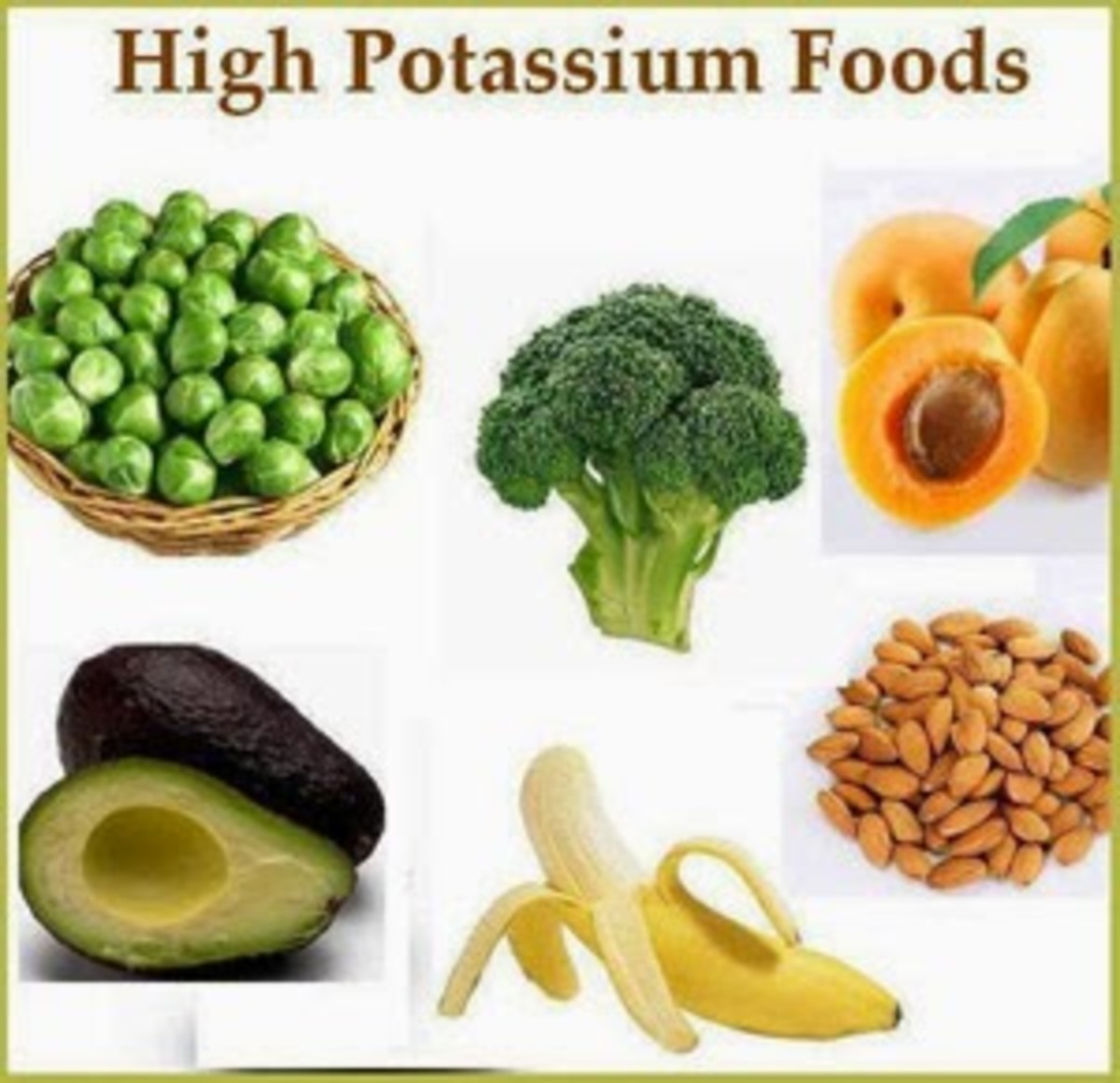 High potassium foods such as brussel sprouts, broccoli, avacado, apricots, bananas and almonds are super foods when it comes to changing your Hypokalemia diet.