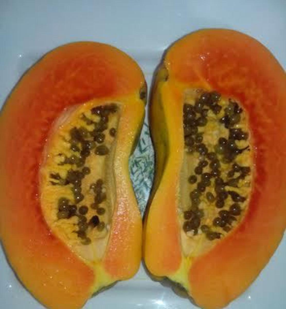 Papaya cut into halves