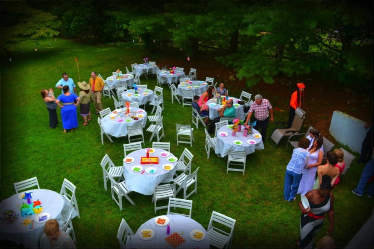 This is an aerial photo of some of the board-game-themed tables at our reception.