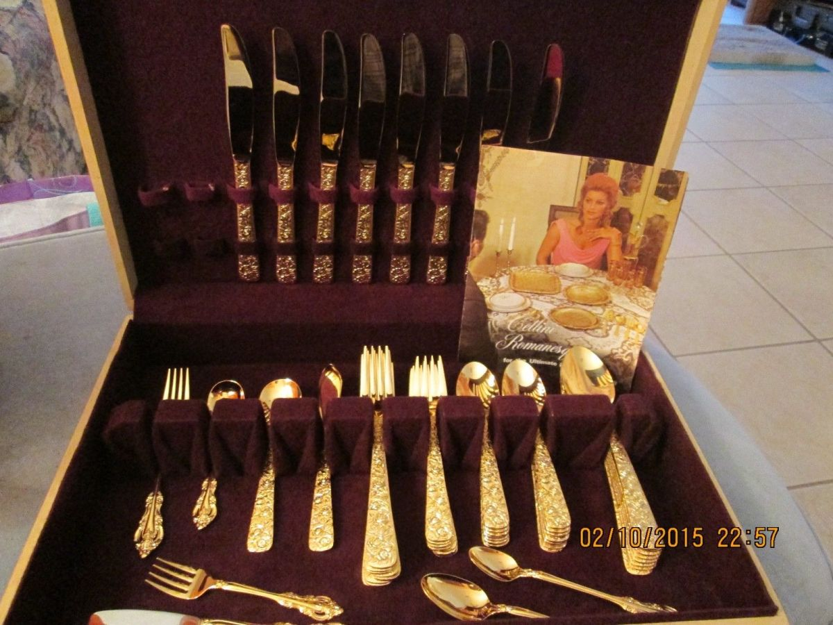 1968 CELLINI ROMANESQUE gold electroplate with raised rose handles signed flatware set with booklet