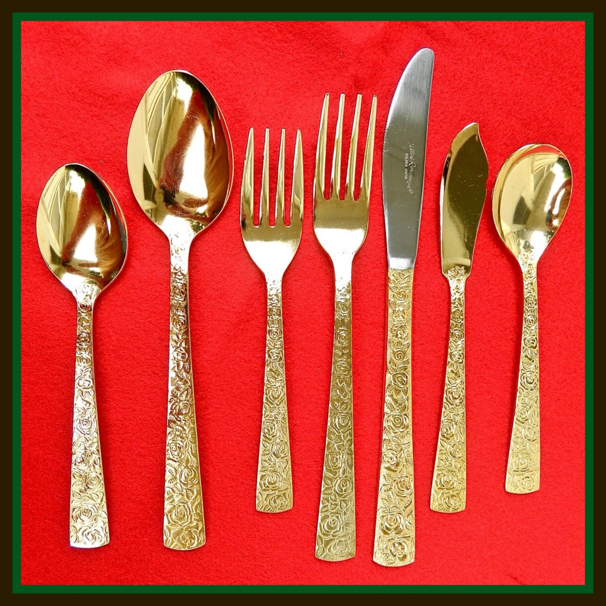 For a real celebration one needs to use Cellini, Romanesque Pattern Electroplate Golden Flatware made in Japan. It is delicate, rich, and leaves a nice tasteful impression for your guest.