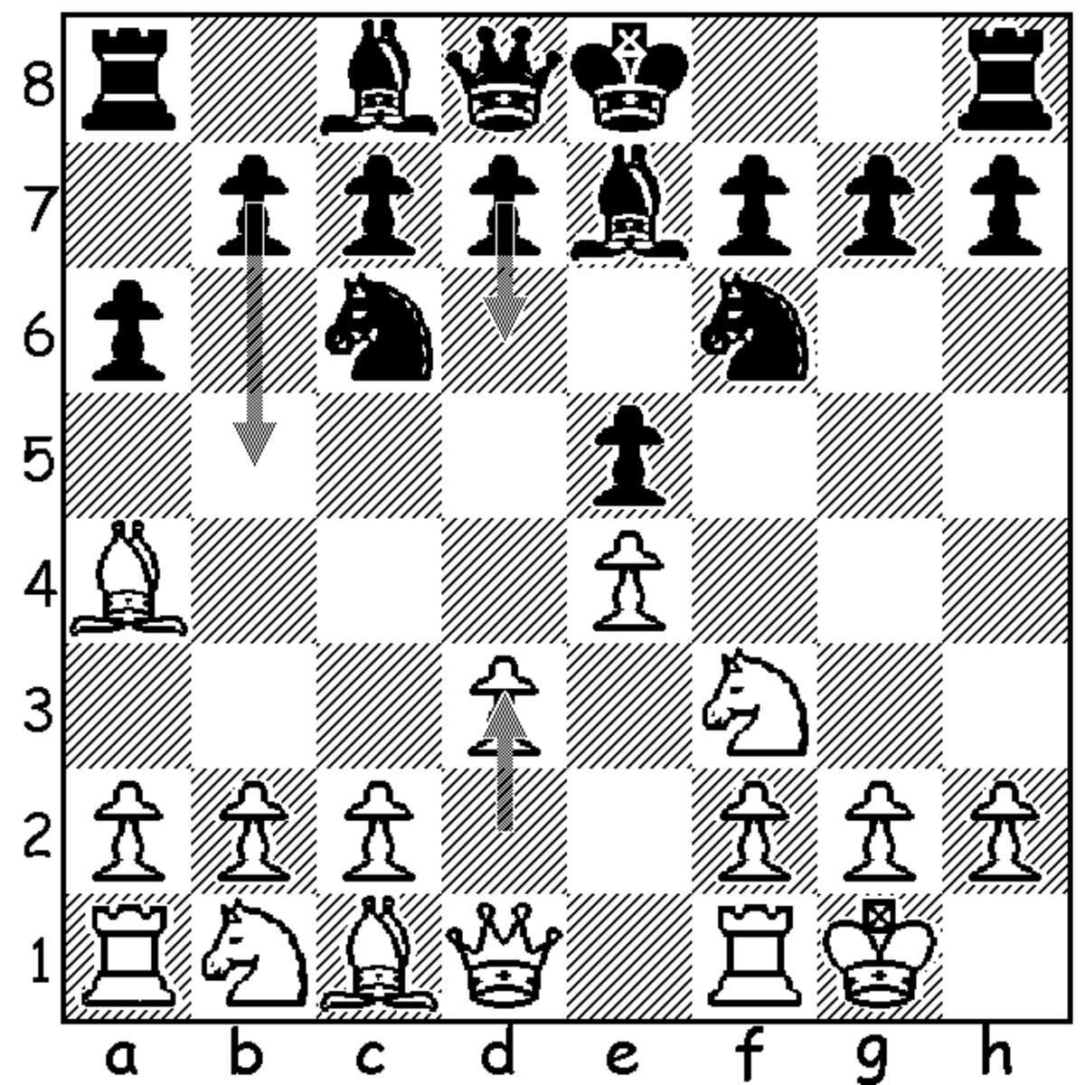 Position in mainline Ruy Lopez after white's move 6.d3 (shown with the bottom arrow), and black's only two reasonable responses: 6...b5 and 6...d6 (shown with the above arrows).
