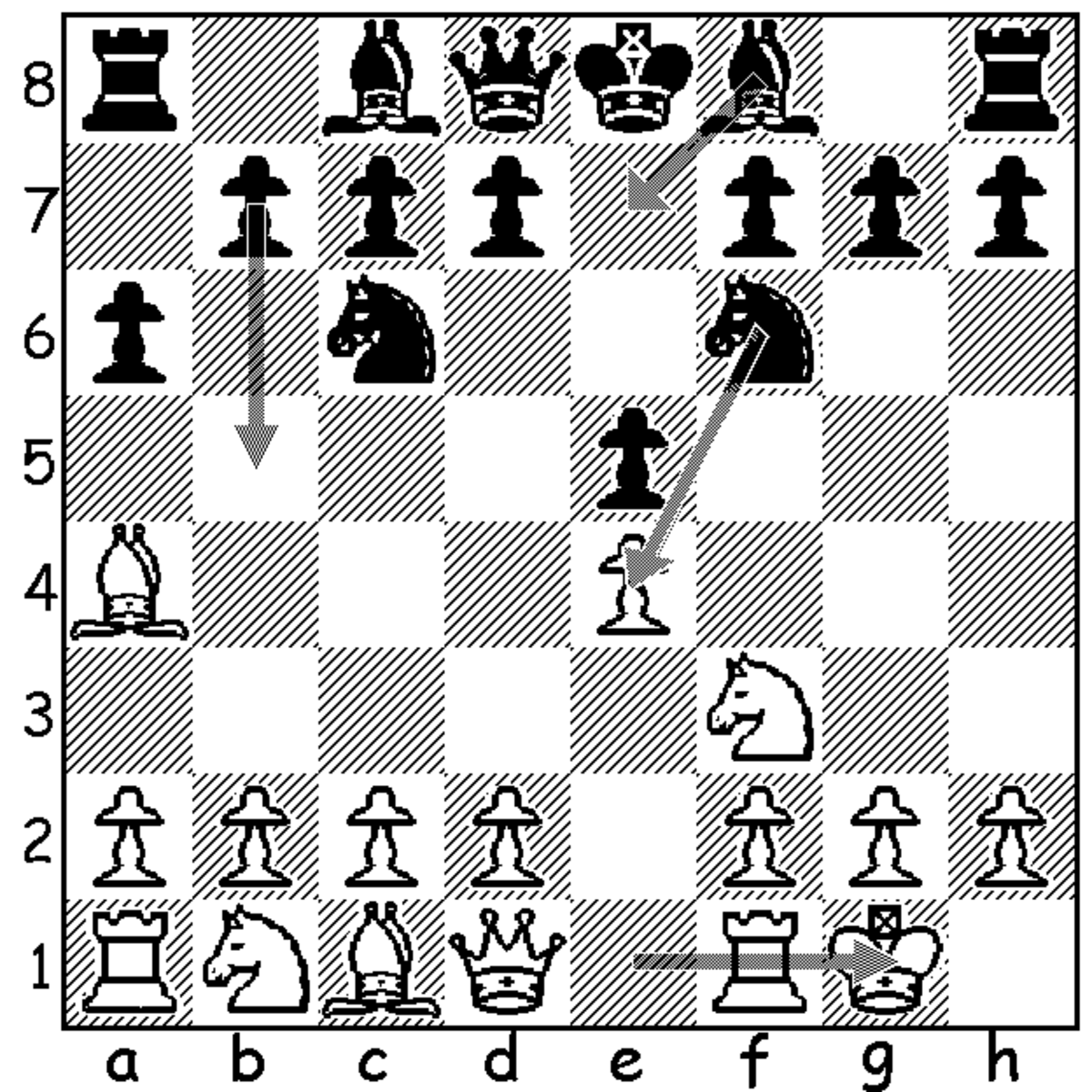 This shows black's three most common responses to white's fifth move, castles (5.0-0), in the mainline Ruy Lopez.
