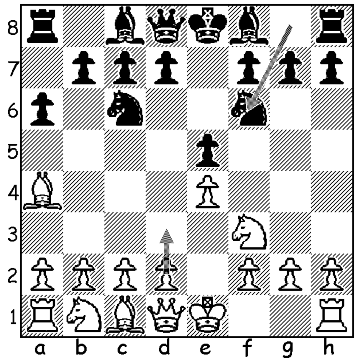 This shows white's possible option of 5.d3 following blacks 4...Nf6, avoiding black's option to play into the Open Ruy Lopez (5.0-0 Nxe4) but allowing a quick 5...d6, 6...g6, and 7...Bg7 which is thought to equalize rather easily.