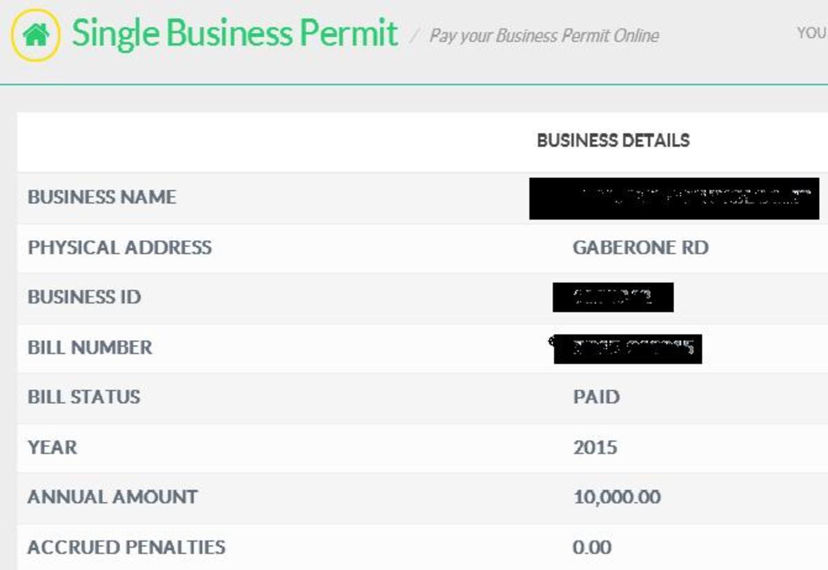 Single Business Permit Details