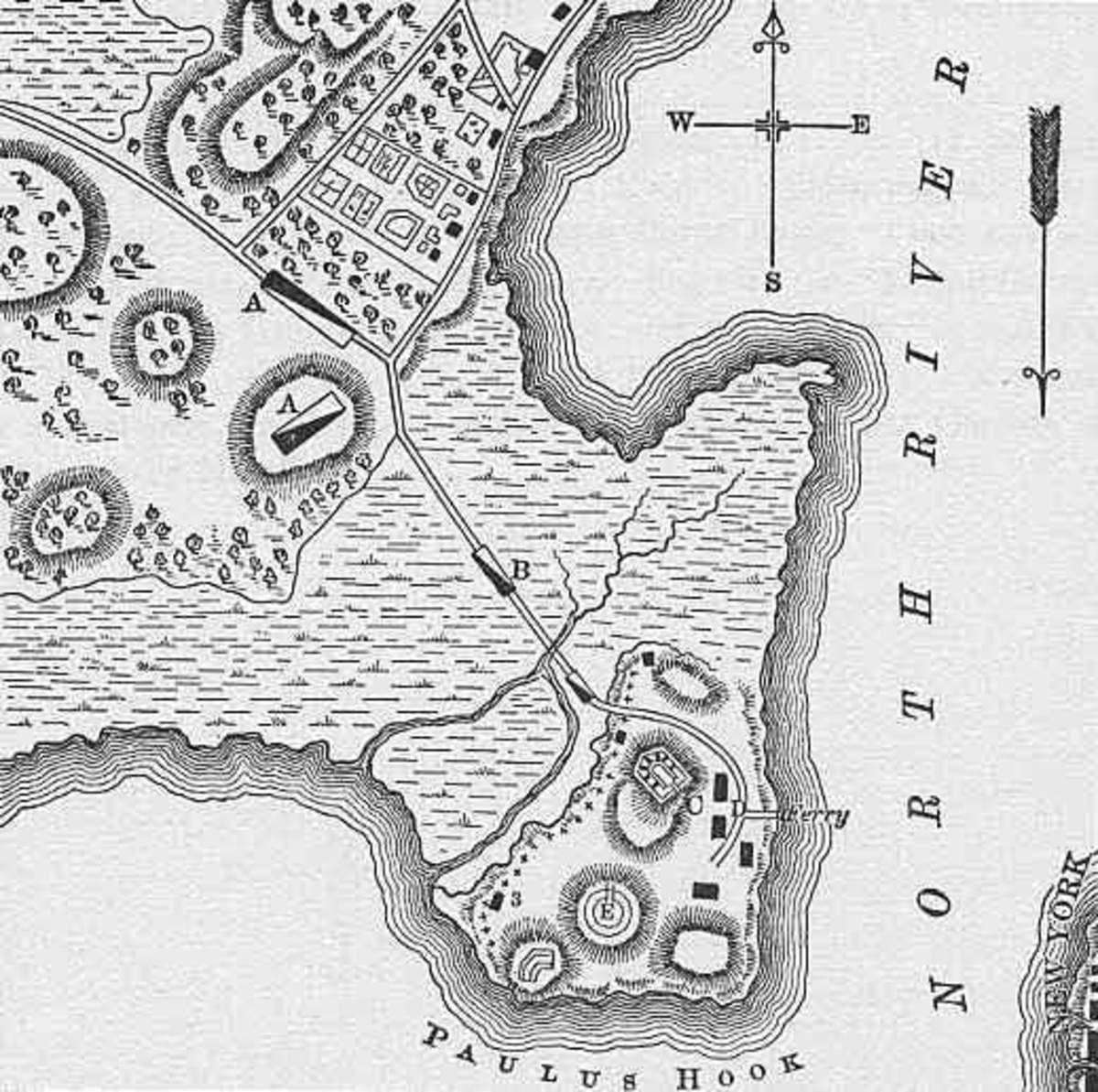 Map of Paulus Hook New Jersey. Scene of Light Horse Henry Lee's greatest victory in the American Revolutionary War ( August 19 1779).