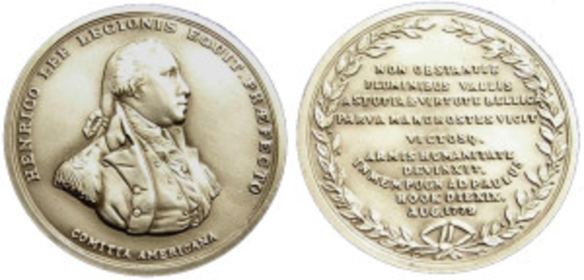 Henry Lee's Gold Medal he received in the Revolutionary War. On September 22, 1779, the Second Continental Congress presented Lee with a gold medal for his leadership at the Battle of Paulus Hook.