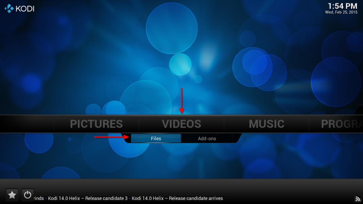 "From the home screen, locate the ""Videos"" tab and select ""Files""."