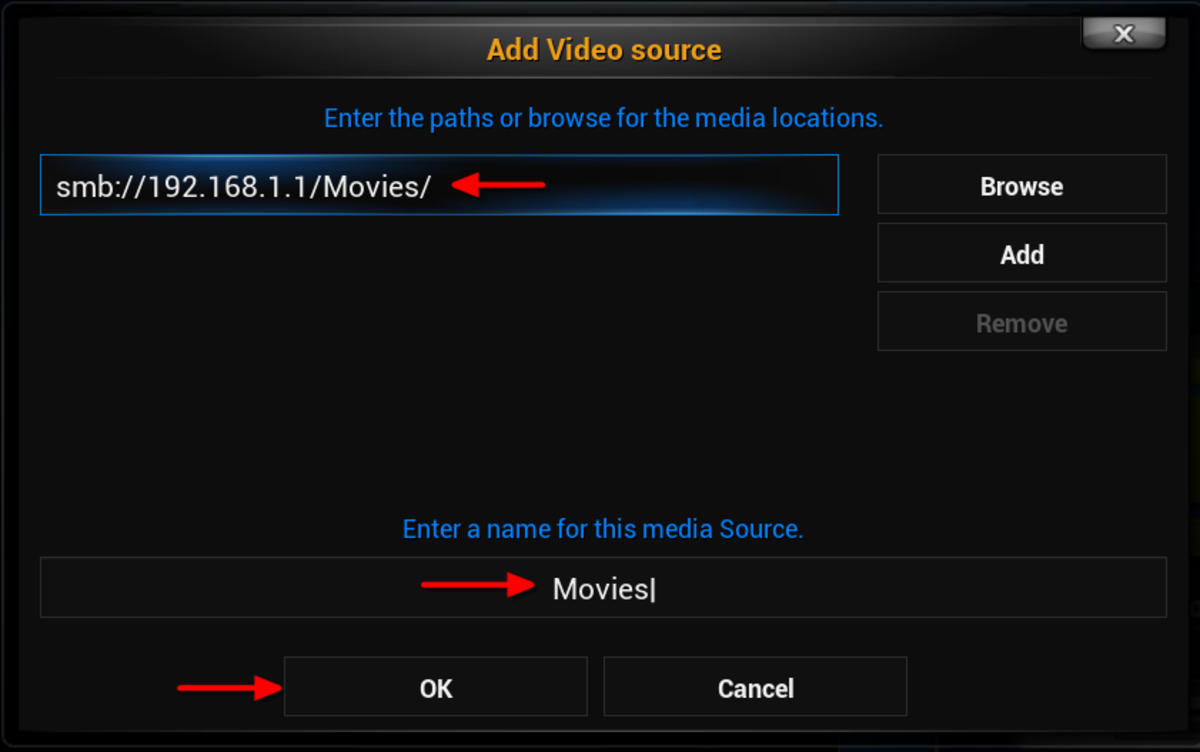 """The """"Add Video Source"""" window will now display your videos folder location. If you would like you can change the media source name. Click """"OK"""""""