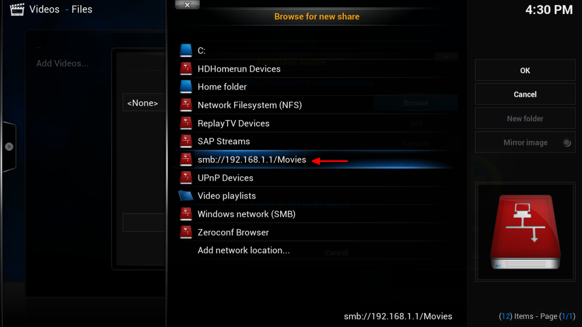 Your Samba share is now an available source in Kodi. Select your share from the list.