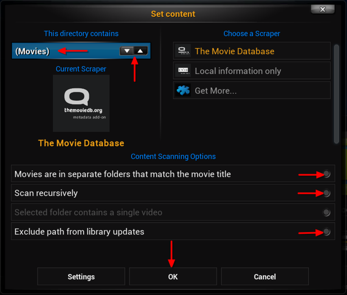 "Select the content type contained in the media source by clicking the up/down arrows. ""Scan recursively"" needs to be checked if you have subfolders such as movies organized by Genre. ""Exclude path"" should not be selected if  content will be added."