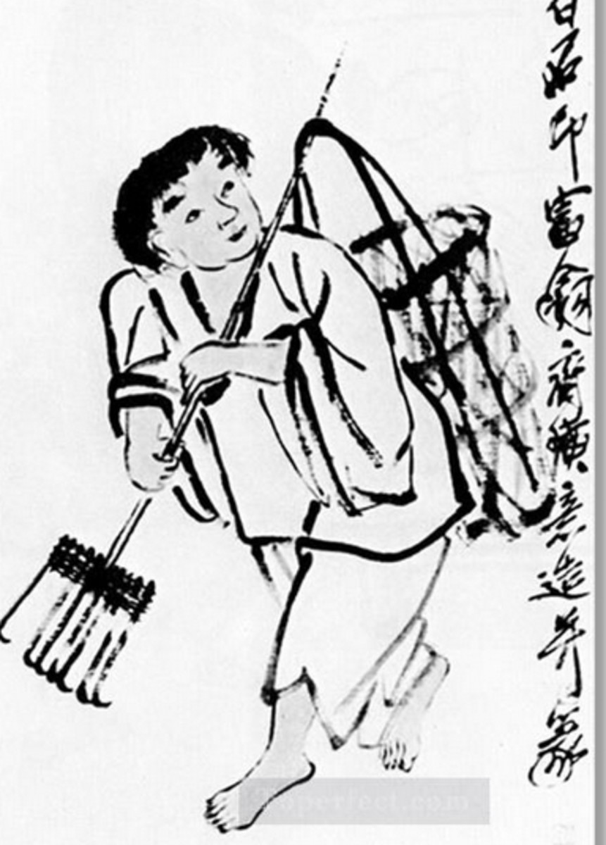 Traditional farm rake in China, the patou by Qi Baishi in Public Domain