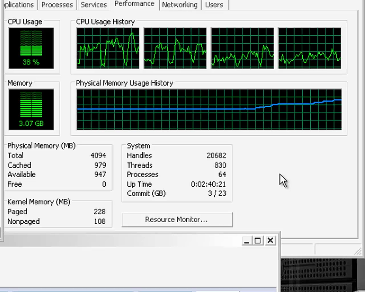 as the VM boots, you can watch the CPU and Memory performance.