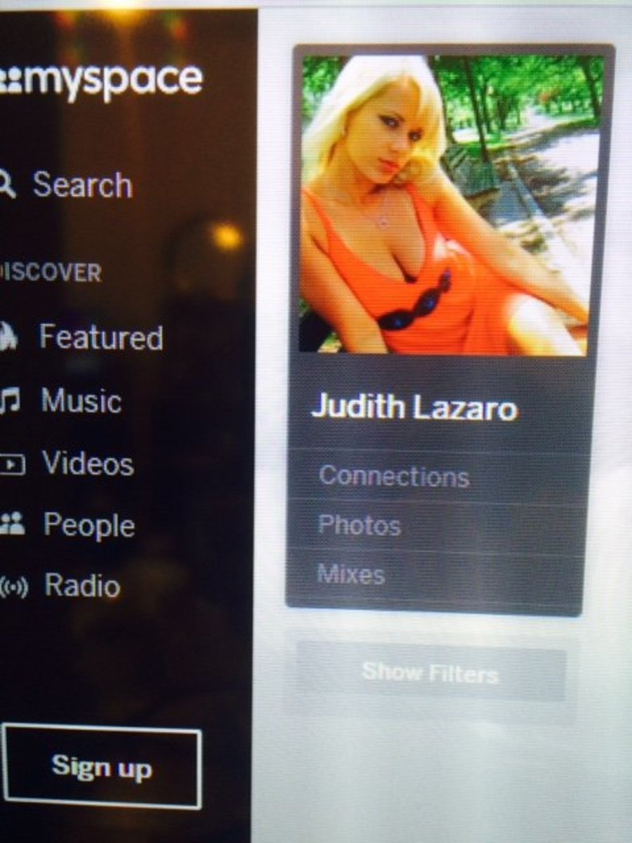 Here is the same photo on MySpace- now her name is Judith. Once you click on this, the REAL Judith is revealed, sadly.