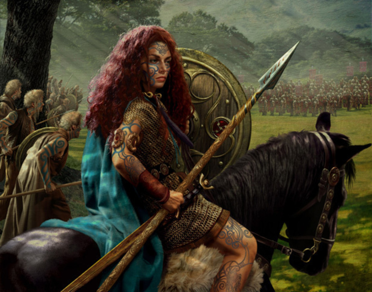 An artist's depiction of Boudica before the battle against Seutonius' Legions