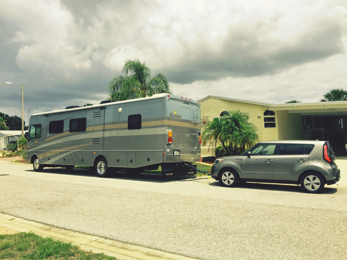 My Bounder Motorhome with my Tow Vehicle attached and ready to hit the road.