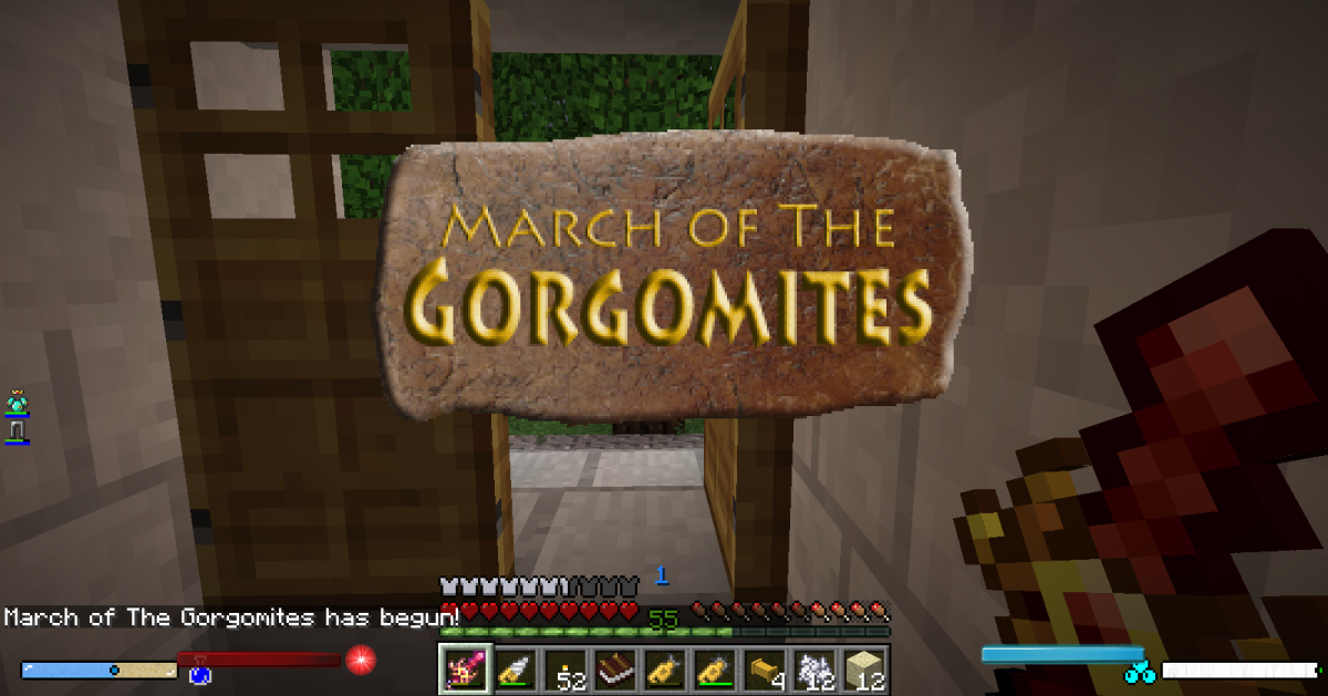 While clarity is a good thing, the warnings for incoming invasions take this to the extreme. They are announced in Minecraft's chat system, through the use of loud verbal and musical warnings, and cover most of the player's screen with a large sign.