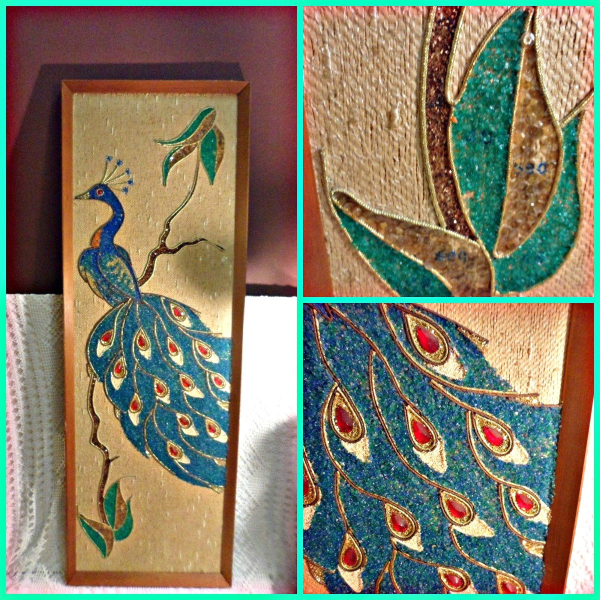 "Big and beautiful blue Peacock gravel mosaic by Picturesque with awesome aqua blue stones and pebbles this lovely piece is  36""X12"" inches and very nicely made."