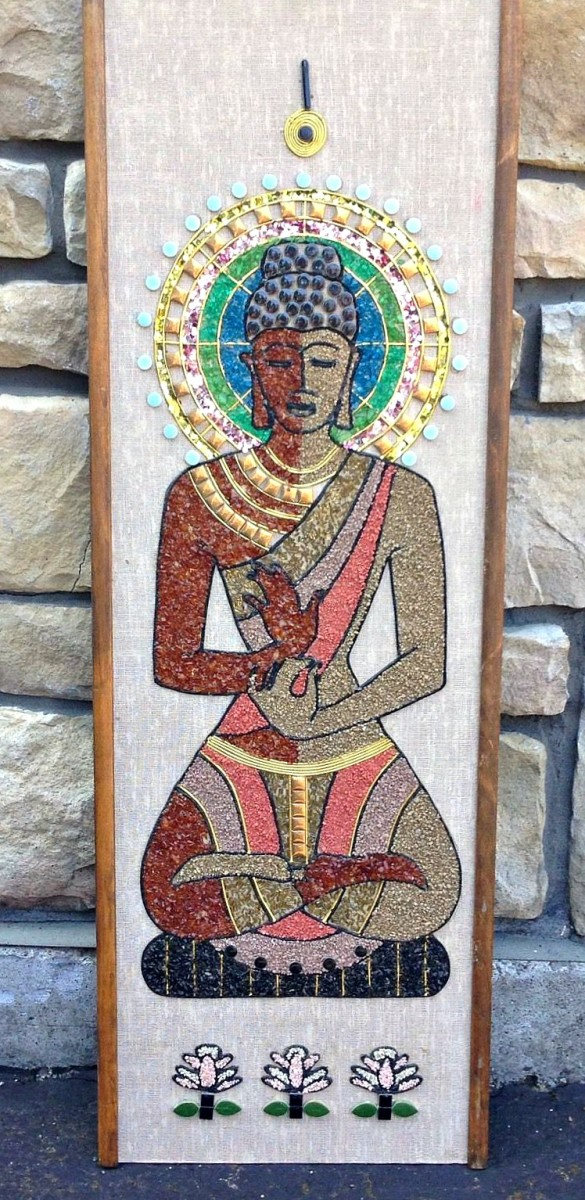 Buddhist Inspired Gravel Mosaic Wall Art Picturesque. The look the feel of the exotic land of India.