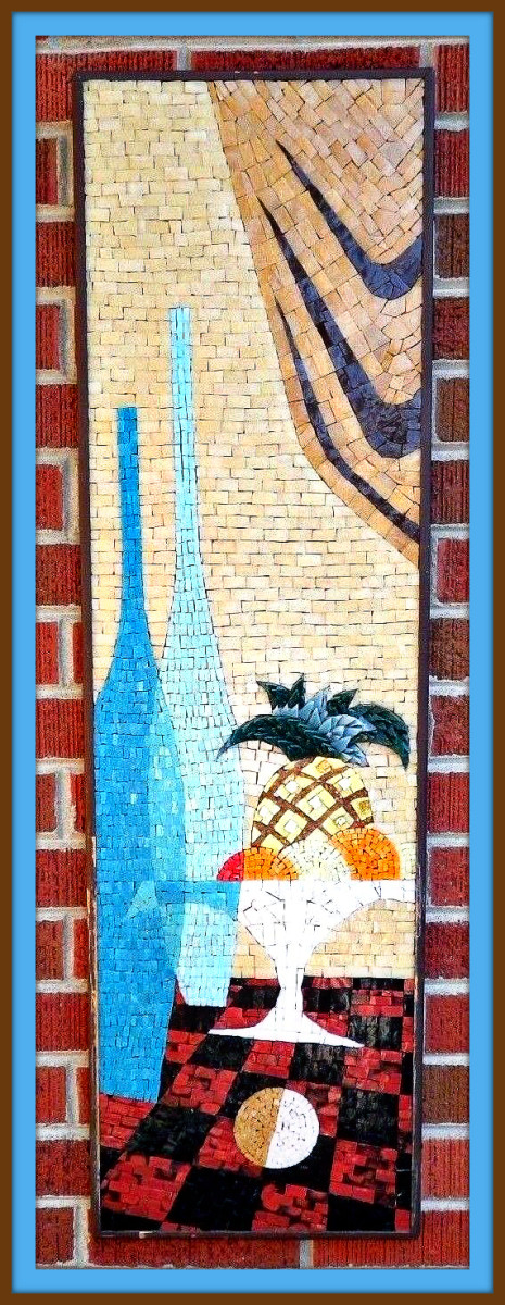 This artwork is stunning! Fantastic mid century glass mosaic that would be perfect in any mid century modern or danish modern decor. The frame is painted brown and is easily refinished or repainted as it shows minor age, use and wear.