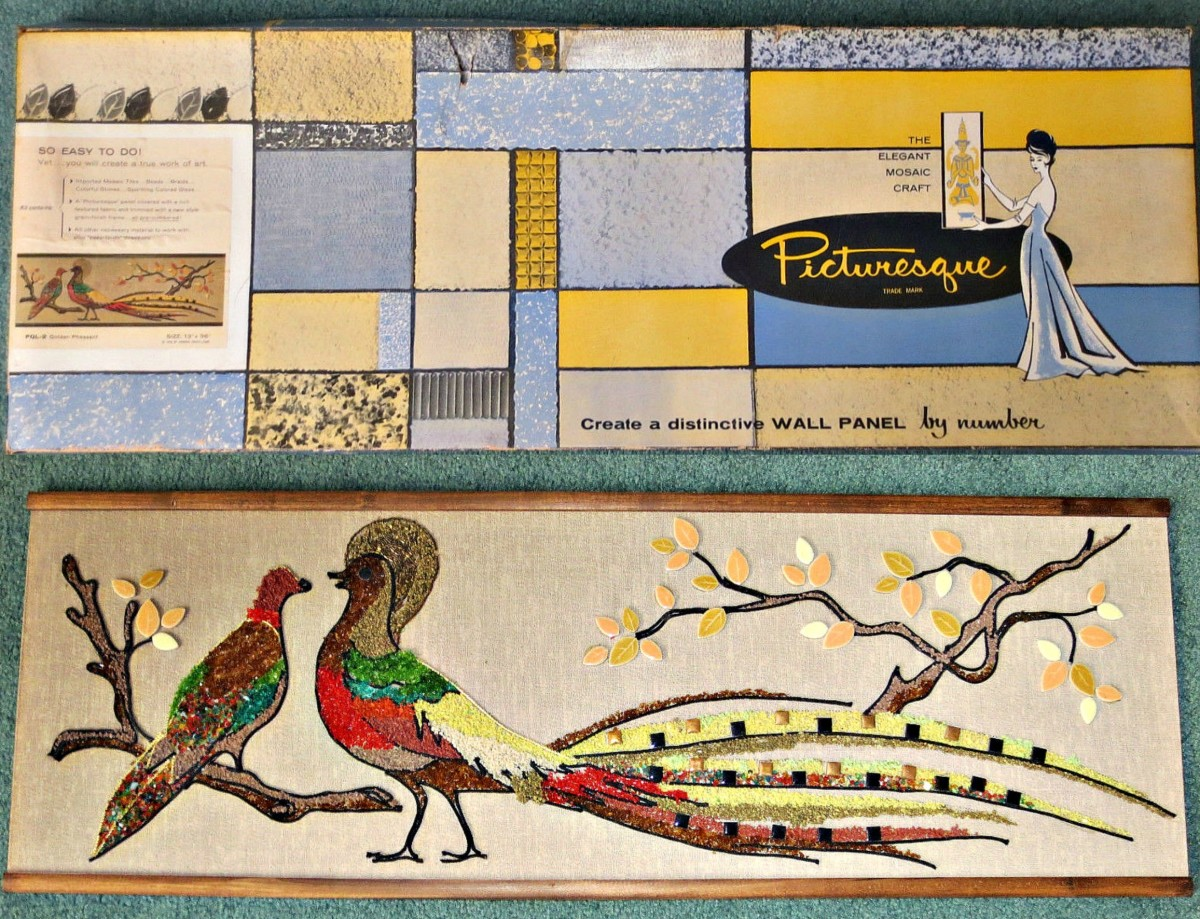 A lovely mid-century horizontal Picturesque PQL-2, Golden Pheasant Wall Panel, that is trademarked Picturesque 1962 with original box.  The horizontal panel measures 13 inches by 36 inches.