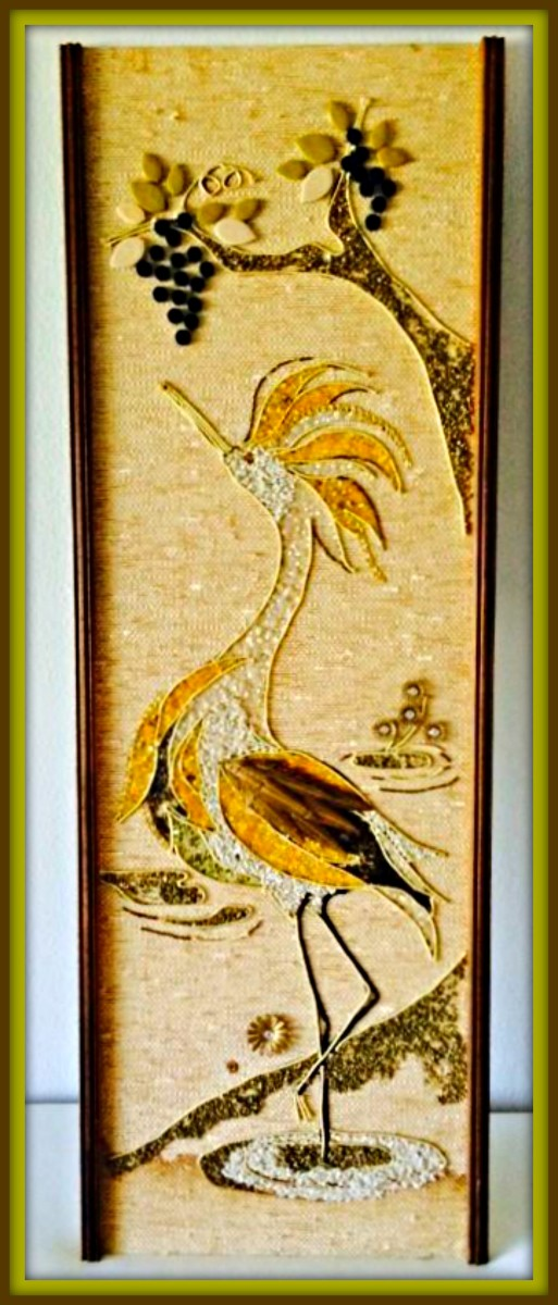 "Here is a beautiful Picturesque Vintage Gravel Mosaic Artwork of a crane done in the mid century with lovely colors for the crane this piece is large and well made and measures 36"" x 12"" inches."