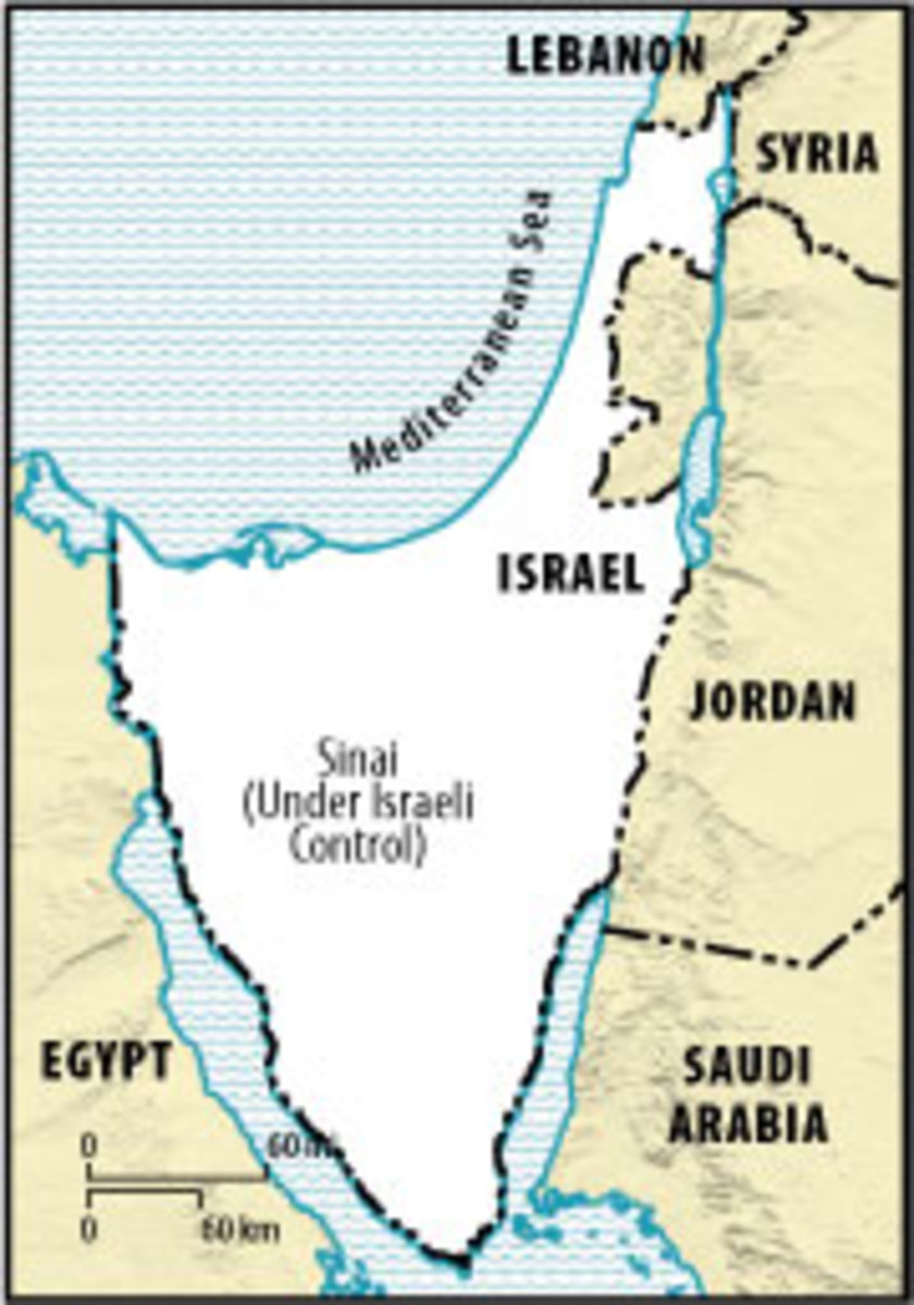 Map of Israel with Captured Gaza Strip and Sinai Peninsula in 1956 Suez Crisis