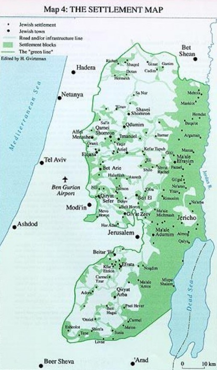 Map of Jewish Cities and Towns under Israeli Authority in Areas A, B, and C under Oslo Accords