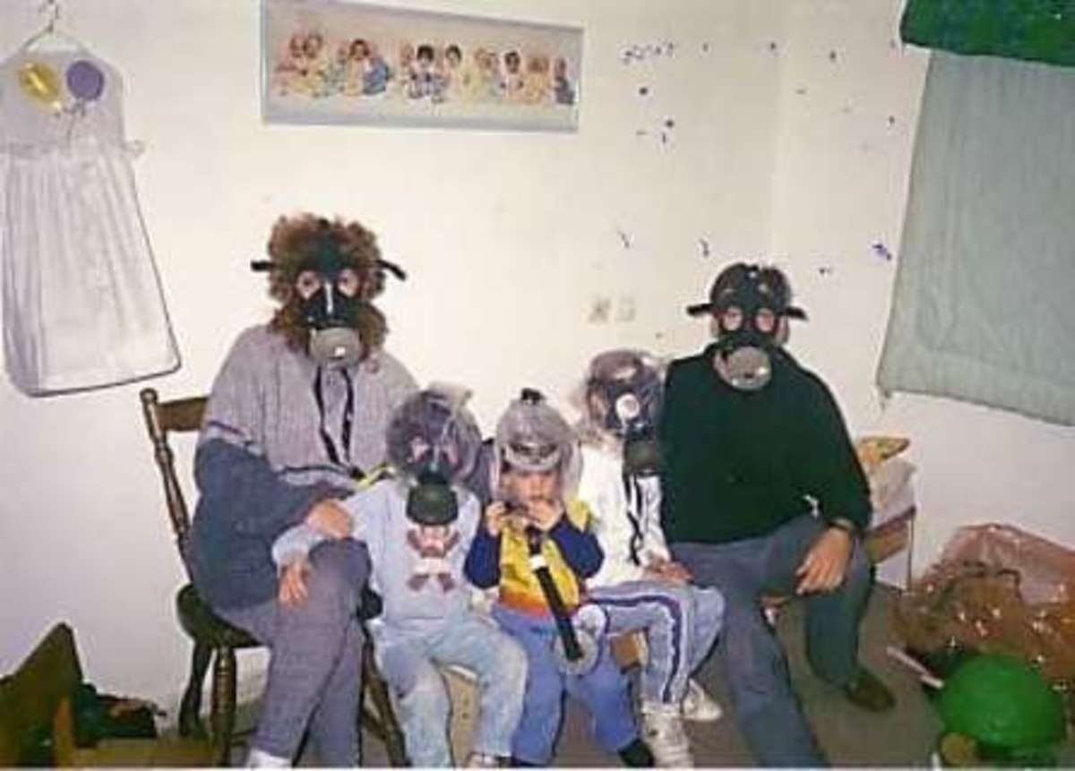 Israeli Family Wearing Gas Masks in Sealed Room during First Gulf War SCUD Missile Attack