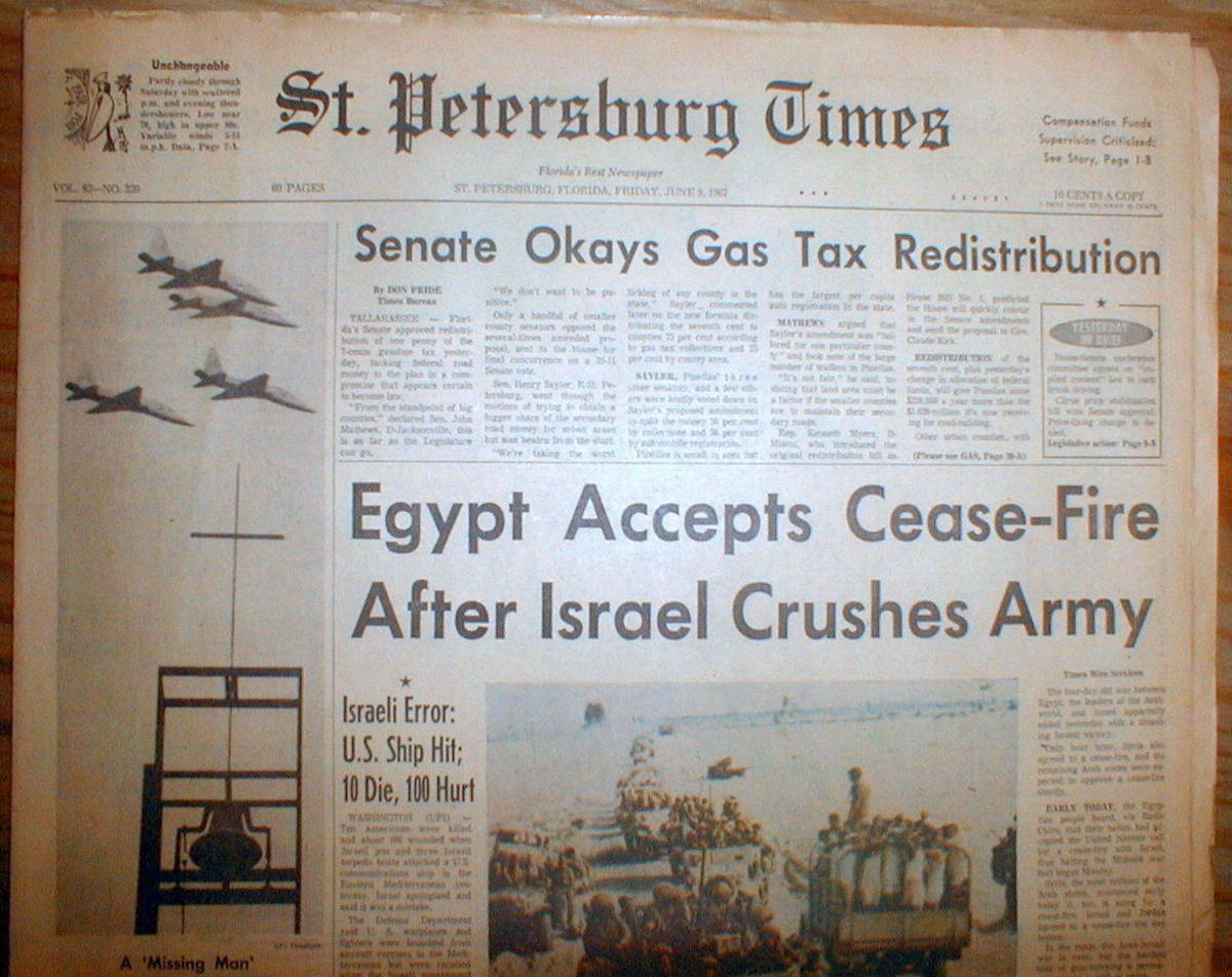 Israel Crushes Egyptian Army Headline 1967