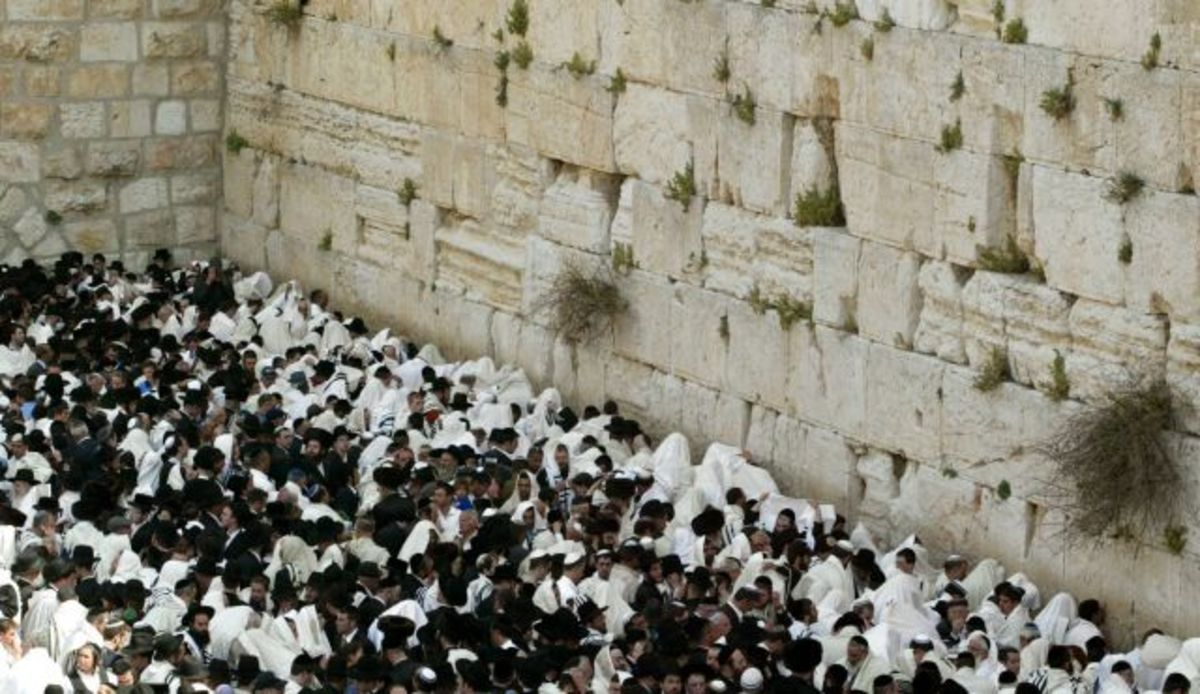 Large Gathering of Jews Praying at the Western Wall in Jerusalem's Old City on Rosh Hashanah Holy Day
