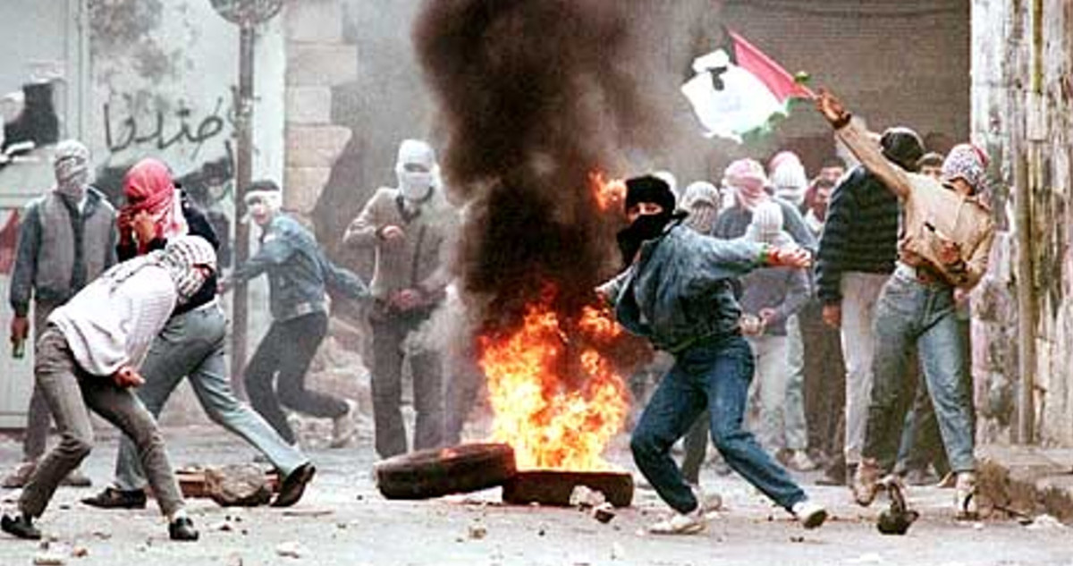 Palestinian Teenagers Rioting during First Intifada by Throwing Stones and Burning Tires