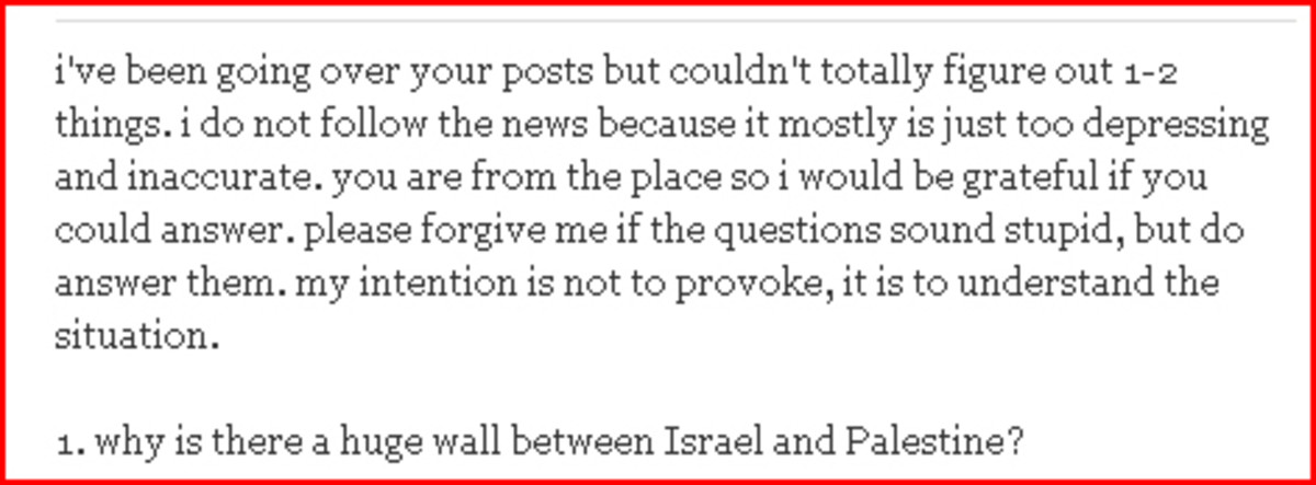 Pakistani Forum Question about the Security Fence in Israel
