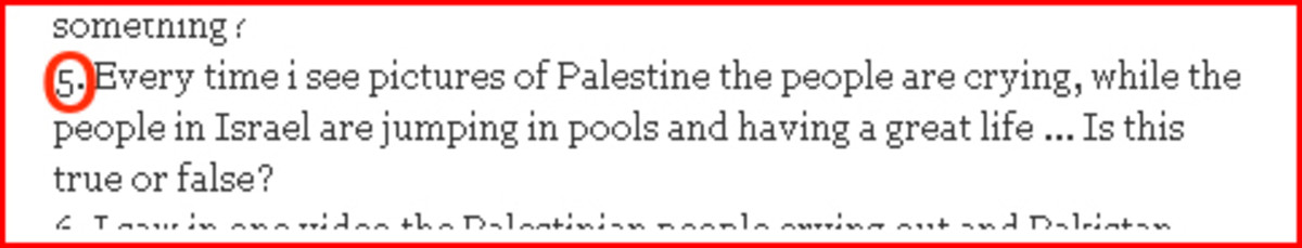 Question from Pakistan about Palestinian Swimming Pools